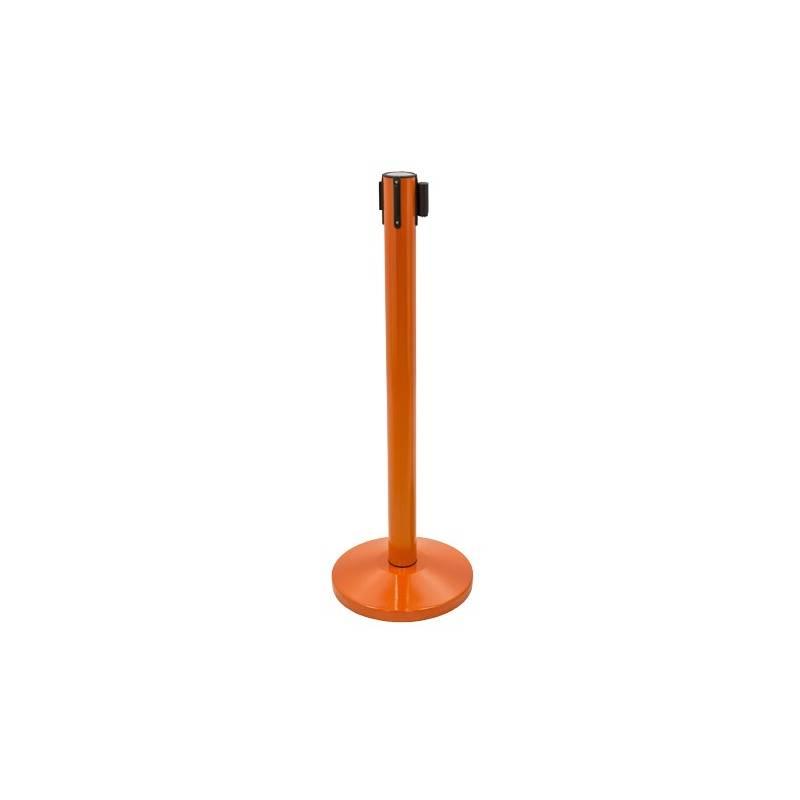 Poste separador naranja con cinta retractil