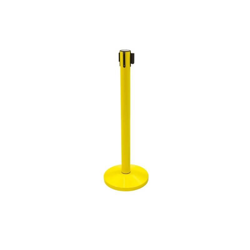 Poste separador amarillo con cinta retractil