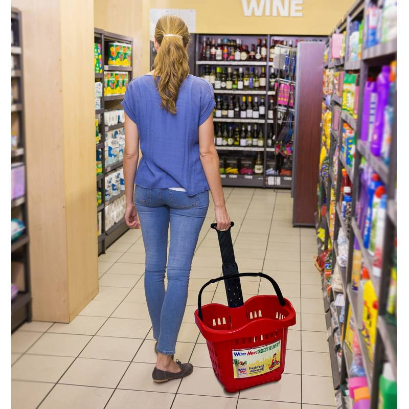 Cesta trolley de compra con brazo extensible