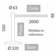 Poste negro de cinta extensible de 50 cm de alto medidas