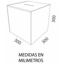 Urna de 30 x 30 x  30 cm sin cerradura MEDIDAS