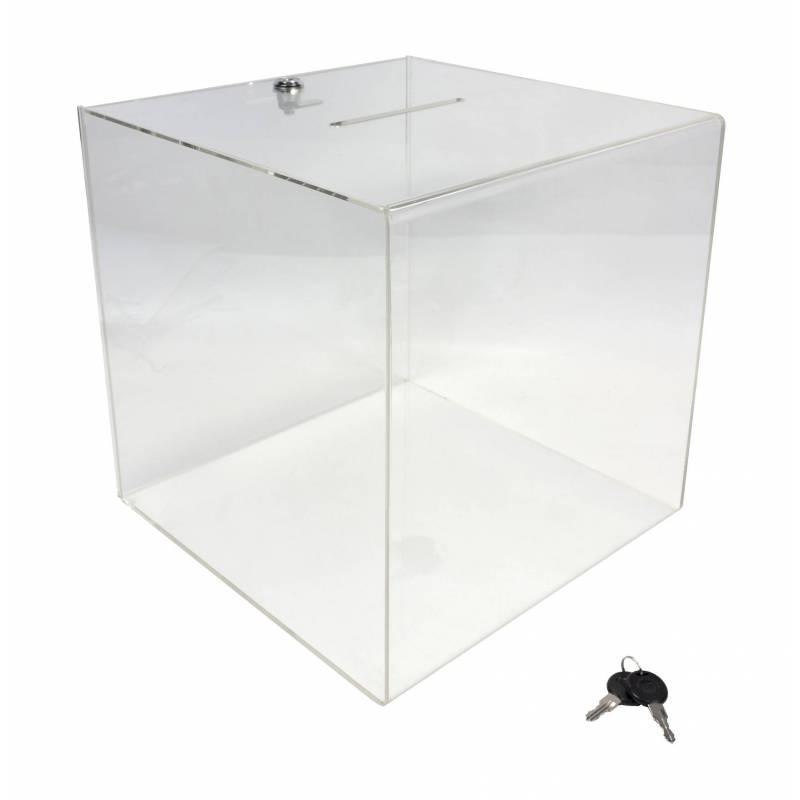 Urna de 30 x 30 x  30 cm con cerradura