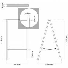 CABALLETE PIZARRA DE 118x61 CM medidas
