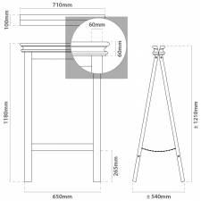 PIZARRA CABALLETE DE 65x118cm CON MOLDURA SUPERIOR medidas
