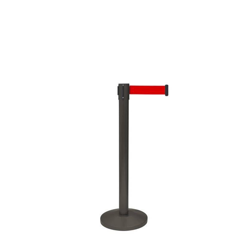 Poste separador negro con cinta roja