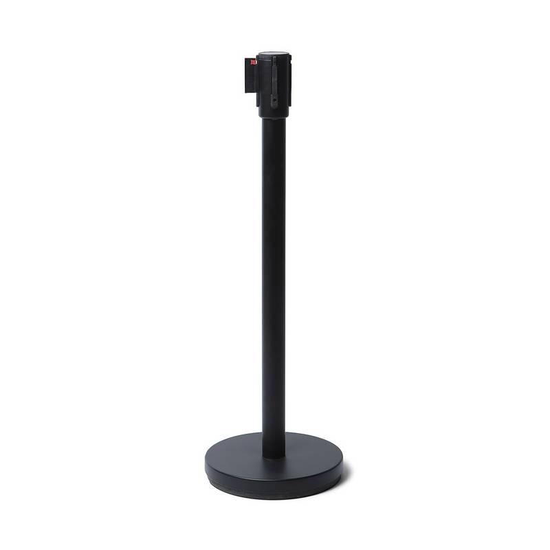 Poste separador negro con cinta negra de 2.5 metros