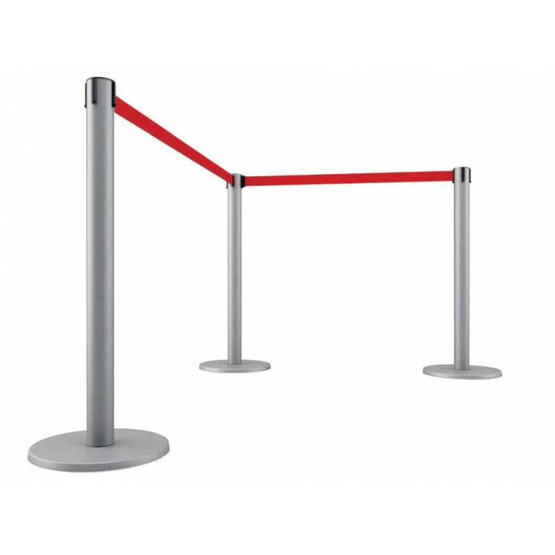 Poste gris de cinta extensible con 2 o 3 metros de cinta
