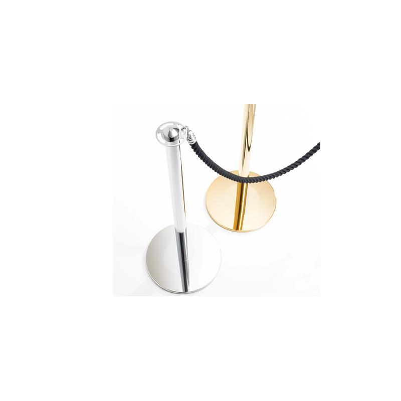 Poste separador en acero inoxidable para cordón en dorado en opción, consulte precio