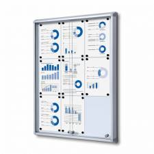 Vitrina de puertas correderas con fondo magnético para 9 DIN A4