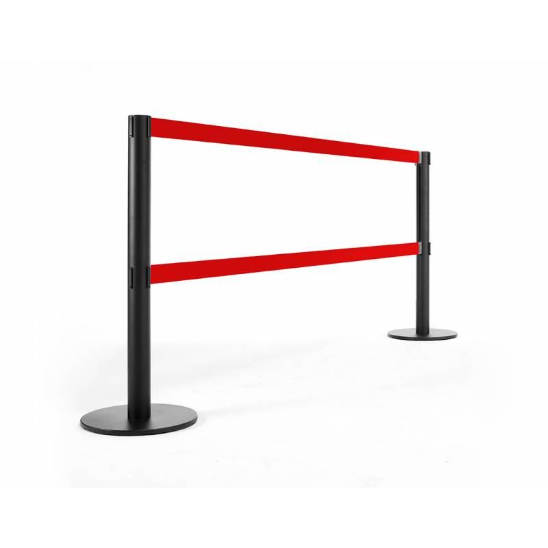 Poste separador negro con cinta doble roja de 250 cm
