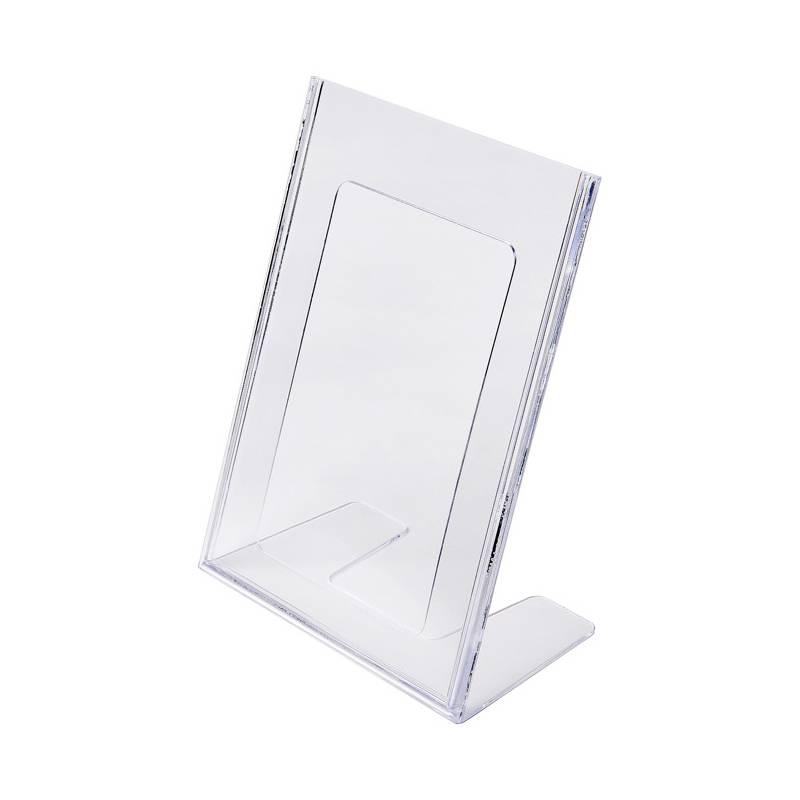 Portagráfica de poliestireno en forma de L para hoja DIN A5 vertical