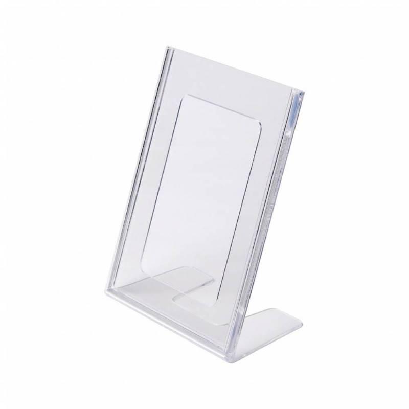 Portagráfica de poliestireno en forma de L para hoja DIN A6 vertical