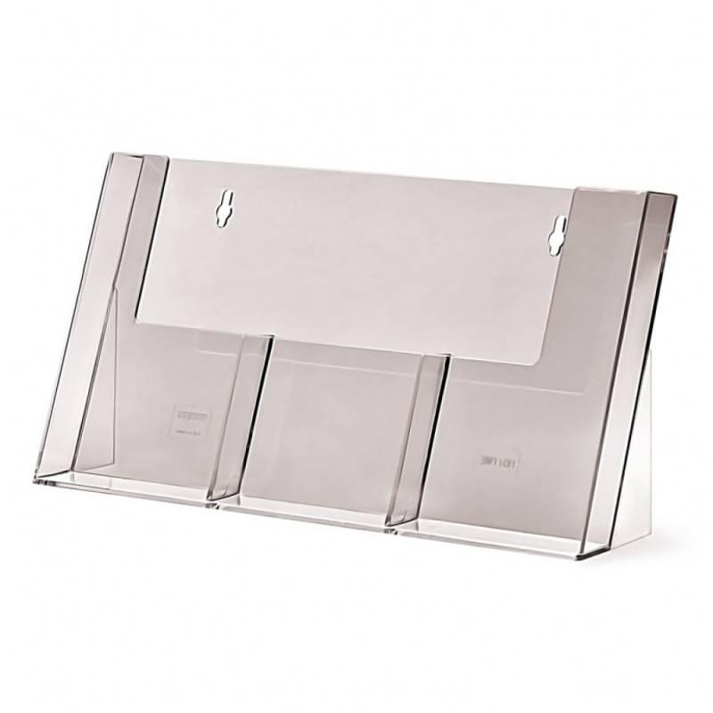 Portafolletos triple para folletos tamaño 1/3 de DIN A4 (10x21 cm)