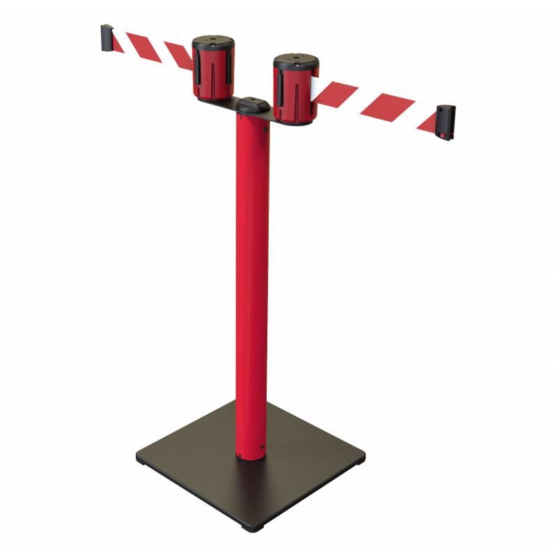 Poste doble con base de metal y 2 cintas de 5 metros