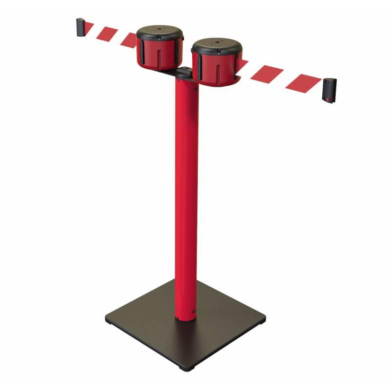 Poste doble con base de metal y 2 cintas de 10 metros