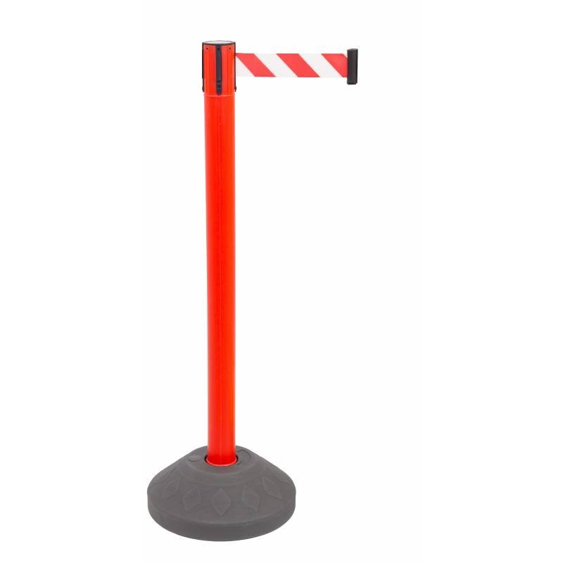 Poste de seguridad rojo con base rellenable y cinta roja y blanca
