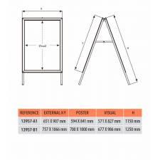 Caballete de Aluminio para rígidos 70 x 100 cm medidas